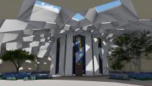 Tölvulíkan að innganginum að helgidómi 'Abdu'l-Bahá