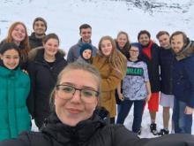 Sandra Júlía og hópurinn sem kom saman að Kistufelli í gær